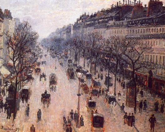 """Camille Pissaro, """"Boulevard de Montmartre en invierno"""" (1897),"""