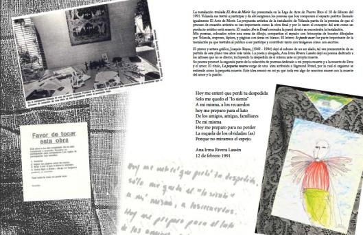 """Plana diseñada por Fundura que documenta su inslatación de 1991 en la Liga de Estudiantes de Arte, titulada """"El arte de morir"""", con poemas de Matos Cintrón."""