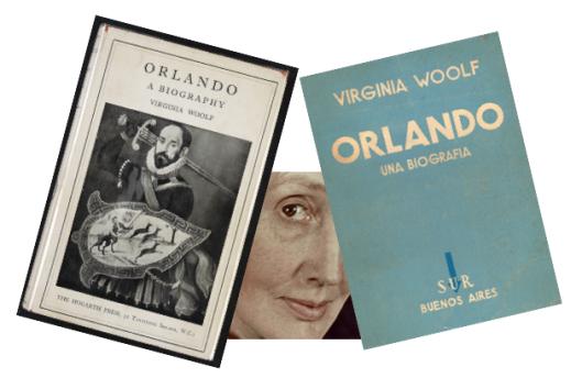 Portada de la edición original de Orlando (1928), de Virginia Woolf, y de la traducción al español de Jorge Luis Borges (1937).